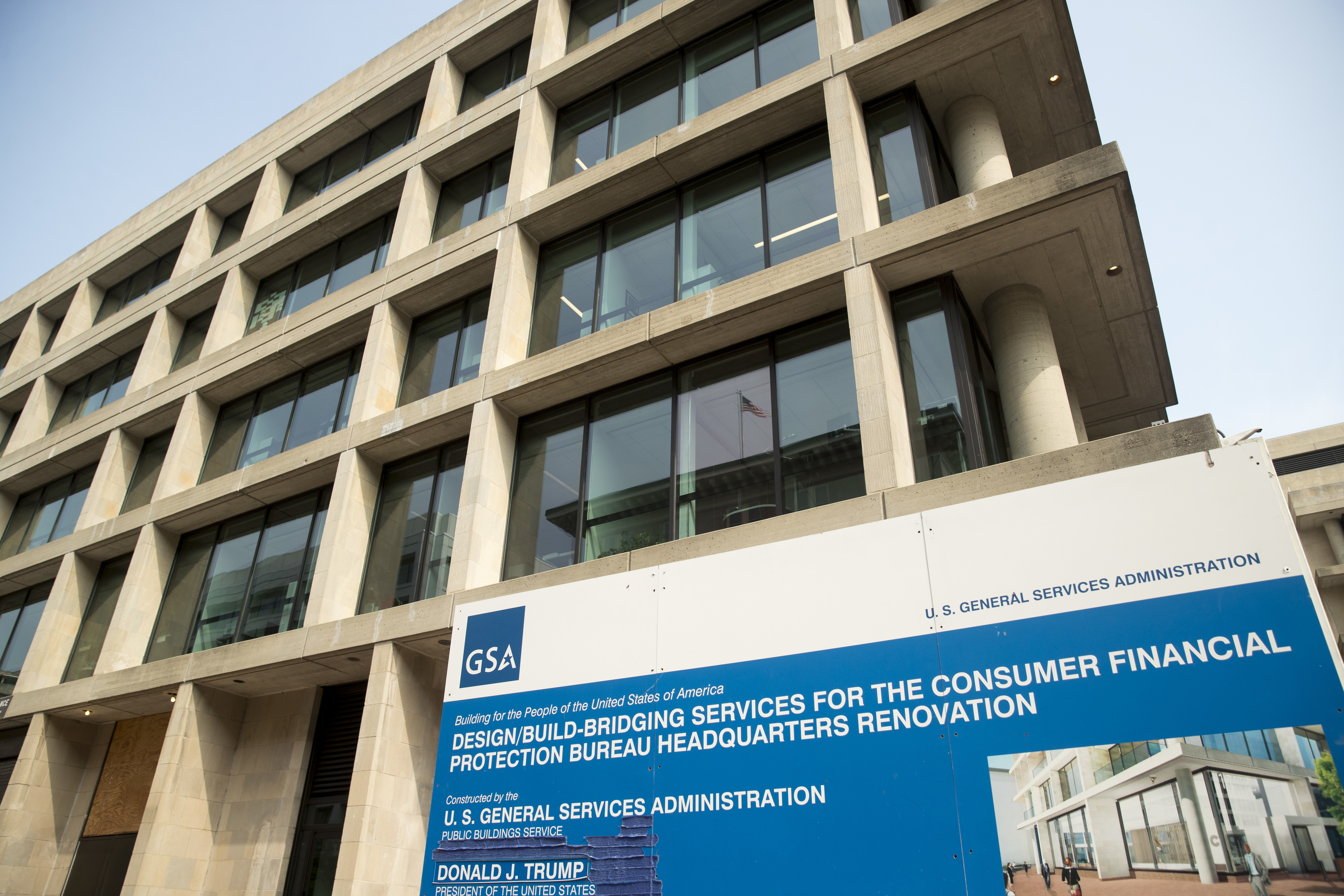 The construction site for the Consumer Financial Protection Bureau's new headquarters in Washington, Monday, Aug. 27, 2018. Seth Frotman, the nation's top government official overseeing the $1.5 trillion student loan market is resigning, citing what he says is the White House's open hostility toward protecting student loan borrowers. (AP Photo/Andrew Harnik)