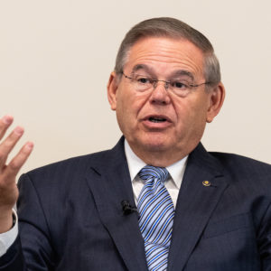 PENNINGTON, NJ, UNITED STATES - 2018/08/06: U.S. Senator Bob Menendez (D-NJ) speaking at the Capital Health Medical Center in Pennington, New Jersey. (Photo by Michael Brochstein/SOPA Images/LightRocket via Getty Images)