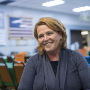 UNITED STATES - AUGUST 17: Sen. Heidi Heitkamp, D-N.D., is interviewed at Amvets Club in Bismarck, N.D., on August 17, 2018. Heitkamp is running against  Rep. Kevin Cramer, R-N.D., for the North Dakota Senate seat.(Photo By Tom Williams/CQ Roll Call)