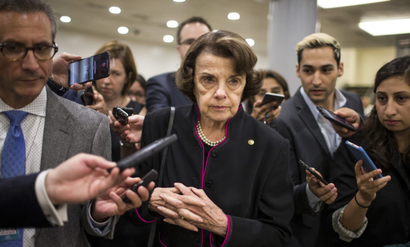 WASHINGTON, DC - SEPTEMBER 27: Senate Judiciary Committee Ranking Member Sen. Dianne Feinstein (D-CA) speaks to members of the press in the Senate Basement on September 27, 2018 in Washington, DC. On Thursday, Christine Blasey Ford, who has accused Kavanaugh of sexual assault, is testifying before the Senate Judiciary Committee.  (Photo by Zach Gibson/Getty Images)