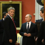 SAINT PETERSBURG, RUSSIA - OCTOBER,3 (RUSSIA OUT) Russian President Vladimir Putin (C) , Austrian Chancellor Sebastian Kurz (R) and Putin's Press Secretary Dmitry Peskov (L) seen during their meeting at the Hermitage, in Saint Petersburg, Russia, October,3, 2018.  Austrian Chancellor Kurz is having a one-day visit to Russia. (Photo by Mikhail Svetlov/Getty Image