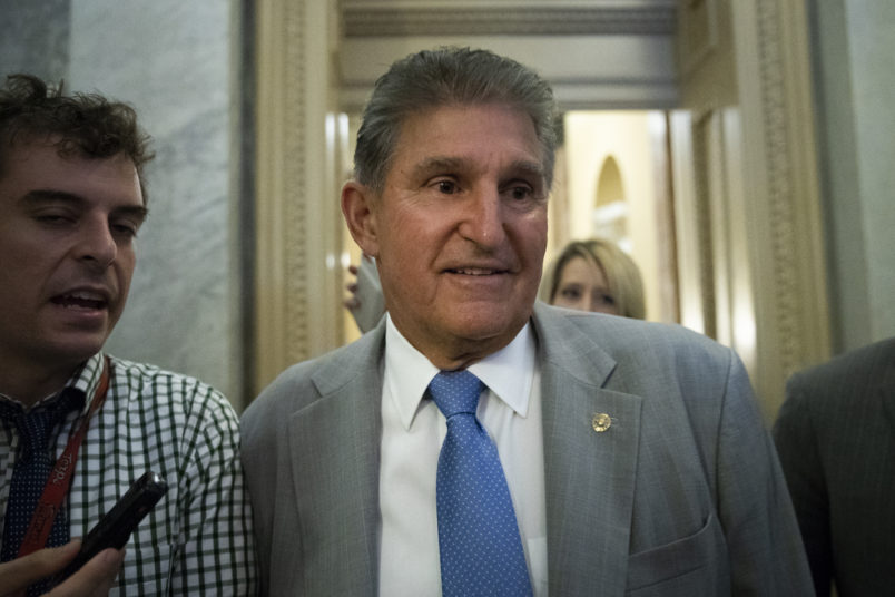 WASHINGTON, DC - OCTOBER 3: Sen. Joe Manchin (D-WV) heads to the Senate floor for a vote, at the U.S. Capitol, October 3, 2018 in Washington, DC. An FBI report on current allegations against Supreme Court nominee Brett Kavanaugh is expected by the end of this week, possibly later today. (Photo by Drew Angerer/Getty Images)