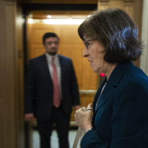 WASHINGTON, DC - OCTOBER 3: Sen. Susan Collins (R-ME) heads to the Senate floor for a vote, at the U.S. Capitol, October 3, 2018 in Washington, DC. An FBI report on current allegations against Supreme Court nominee Brett Kavanaugh is expected by the end of this week, possibly later today. (Photo by Drew Angerer/Getty Images)