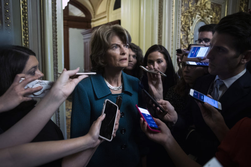 WASHINGTON, DC - OCTOBER 5: Sen. Lisa Murkowksi (R-AK) speaks to reporters after voting no on a cloture vote for the nomination of Supreme Court Judge Brett Kavanaugh to the U.S. Supreme Court, at the U.S. Capitol, October 5, 2018 in Washington, DC. The Senate voted 51-49 in a procedural vote to advance the nomination of Judge Brett Kavanaugh to the U.S. Supreme Court. (Photo by Drew Angerer/Getty Images)