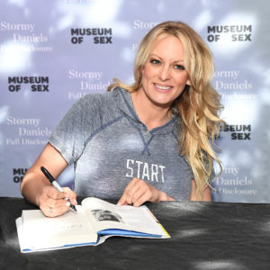 """Stormy Daniels Signs Copies Of Her New Book """"Full Disclosure"""" at Museum of Sex on October 8, 2018 in New York City."""