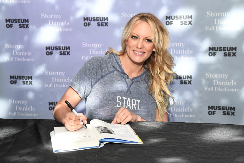 "Stormy Daniels Signs Copies Of Her New Book ""Full Disclosure"" at Museum of Sex on October 8, 2018 in New York City."