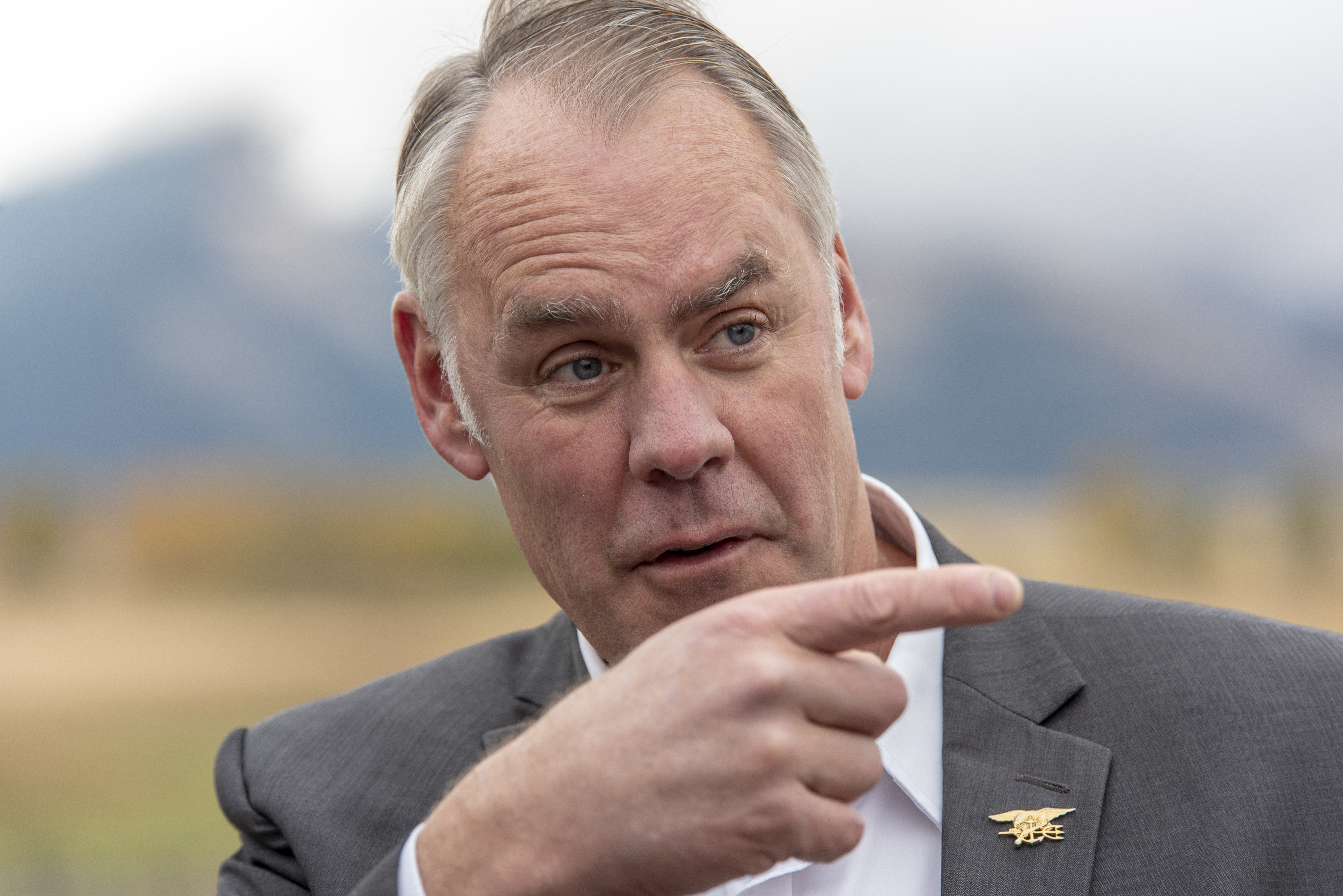 EMIGRANT,MT-OCTOBER, 08: Interior Secretary Ryan Zinke signs a Public Lands Order at a ceremony in Emigrant, MT on October 08, 2018. The Public Lands Order withdraws 30,000 acres of public land from hard rock mining surrounding two proposed gold mines north of Yellowstone National Park for 20 years. The gold mining is opposed by local businesses in Paradise Valley along the Yellowstone River just north of Yellowstone National Park. (Photo by William Campbell-Corbis via Getty Images)