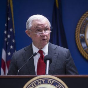 WASHINGTON, DC - OCTOBER 15: U.S. Attorney General Jeff Sessions speaks during a news conference on efforts to reduce transnational crime at the U.S. Attorney's Office for the District of Columbia on October 15, 2018 in Washington, DC.  (Photo by Zach Gibson/Getty Images)
