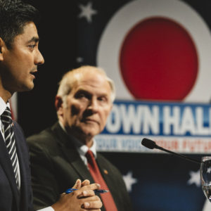 CINCINNATI, OH - OCTOBER, 16: Aftab Pureval, left, and Steve Chabot, right, debated on October 16, 2018 in Cincinnati, Ohio at the Mayerson Jewish Community Center.Chabot, the incumbent Republican for Ohio's 1st Congressional District, debated Aftab Pureval, the Democrat challenging for the seat. Hosted by WKRC-TV, this is the first in a series of three debates between the candidates, who have a repuation of attacking one another in what's become a fiery campaign. (Andrew Spear for The Washington Post via Getty Images)