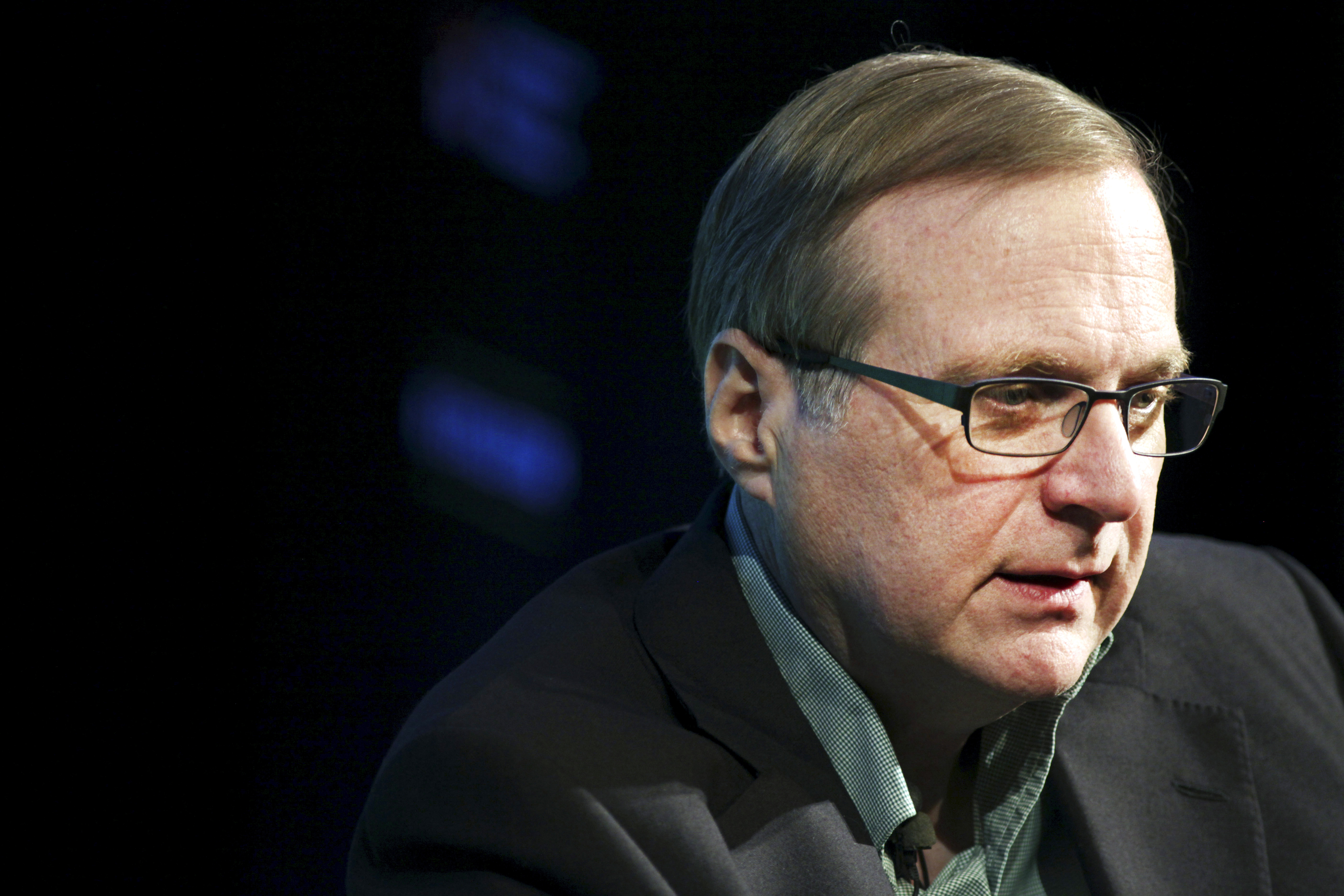 "Microsoft co-founder Paul Allen discusses his new memoir ""Idea Man"" during an appearance at the Computer History Museum in Mountain View, California."