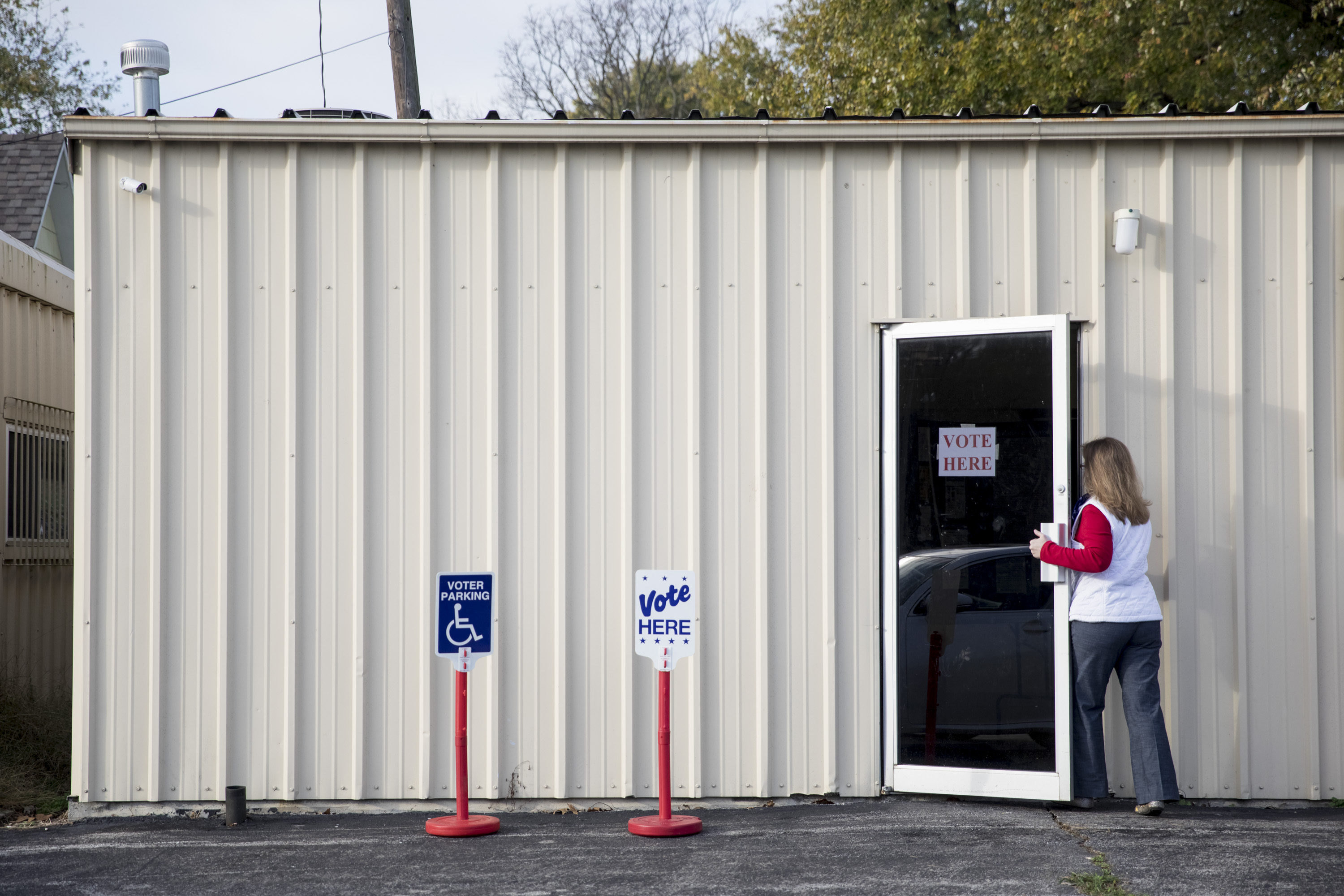 SIBLEY, MO - NOVEMBER 08: A voter enters their polling place on November 8, 2016 at Sibley Community Center in Sibley, Missouri, United States. (Photo by Whitney Curtis/Getty Images)