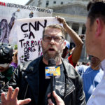 NEW YORK, NY - JUNE 10: The alt-right leader and former co-founder of Vice Magazine Gavin McInnes attends an Act for America rally to protest sharia law on June 10, 2017 in Foley Square in New York City. Members of the Oath Keepers and the Proud Boys, right wing Trump supporting groups that are willing to directly confront and engage left-wing anti-Trump protestors, attended the event. (Photo by Andrew Lichtenstein/ Corbis via Getty Images)
