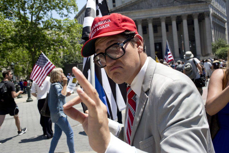 NEW YORK, NY - JUNE 10: The alt-right group Act for America holds a small rally to protest sharia law on June 10, 2017 in Foley Square in New York City. Members of the Oath Keepers and the Proud Boys, right wing Trump supporting groups that are willing to directly confront and engage left-wing anti-Trump protestors, attended the event. (Photo by Andrew Lichtenstein/ Corbis via Getty Images)