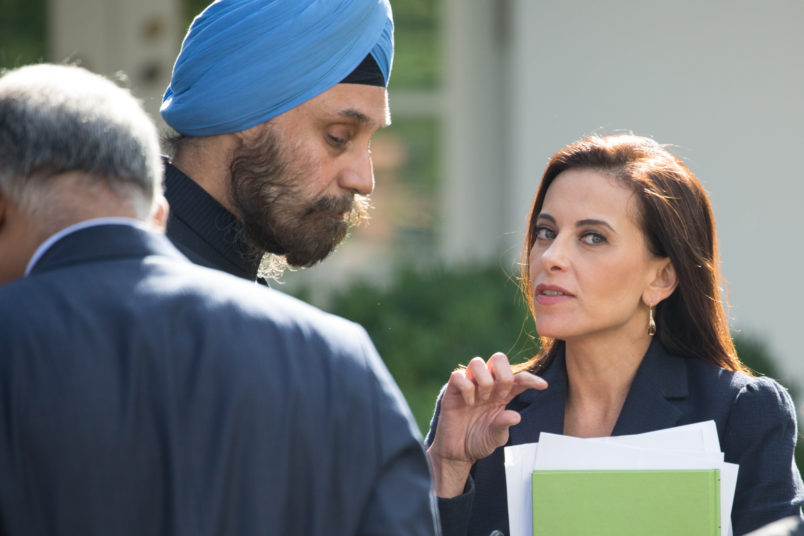 Dina Powell, U.S. Deputy National Security Advisor for Strategy to President Donald Trump, speaks with members of India's delegation, before President Donald Trump and Prime Minister Narendra Modi of India's joint press conference in the Rose Garden of the White House, on Monday, June 26, 2017. (Photo by Cheriss May) (Photo by Cheriss May/NurPhoto)