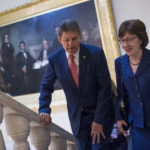 UNITED STATES - JANUARY 22: Sens. Joe Manchin, D-W.Va., and Susan Collins, R-Maine, make their way to a news conference in the Capitol after the Senate passed a continuing resolution to reopen the government on January 22, 2018. (Photo By Tom Williams/CQ Roll Call)