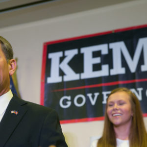 ATHENS, GA - JULY 24:  Secretary of State Brian Kemp addresses the audience and declares victory during an election watch party on July 24, 2018 in Athens, Georgia. Kemp defeated opponent Casey Cagle in a runoff election for the Republican nomination for the Georgia Governor's race.  (Photo by Jessica McGowan/Getty Images)