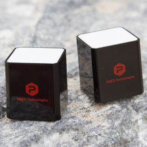 The Cube Stereo Bluetooth Speaker packs powerful audio tech into a one-inch cube.