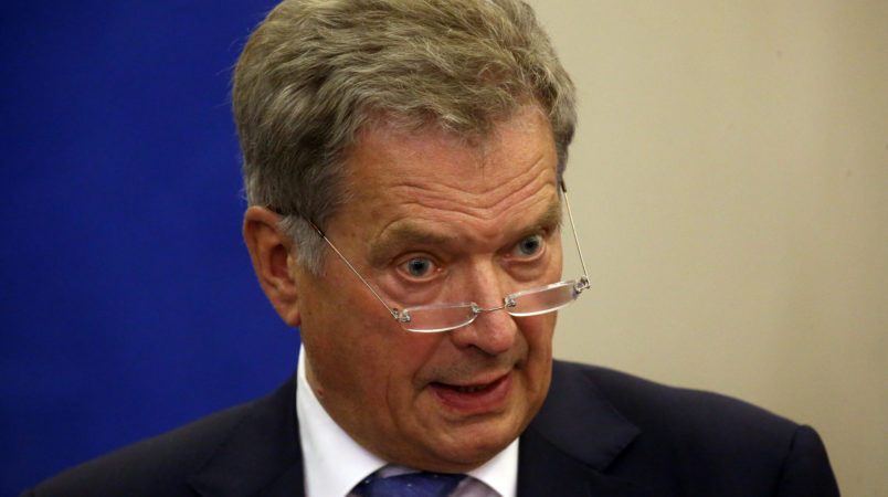 SOCHI, RUSSIA - AUGUST,22 (RUSSIA OUT)  Finnish President Sauli Niinisto speeches during a joint press conference at Bocharov ruchey state residence in Sochi, Russia, August,22,2018. President of Finland is having a one-day visit to Russian Black Sea region of Krasnodar krai. (Photo by Mikhail Svetlov/Getty Images)