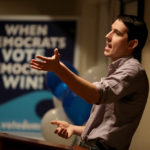 California democratic congressional candidate Josh Harder speaks during a town hall style meeting at a Best Western hotel on October 4, 2018 in Patterson, California. Democrat congressional candidate Josh Harder is running against republican incumbent U.S. Rep. Jeff Denham (R-CA) in California 10th district. According to a new poll by the University of California, Berkeley Institute for Governmental Studies that was released today shows Harder with a 5 percentage point lead over Denham.