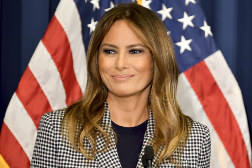 First Lady Melania Trump delivers remarks  at a conference on Neonatal Abstinence Syndrome (NAS) at Thomas Jefferson University Hospital, in Philadelphia, PA, on October 17, 2018. (Photo by Bastiaan Slabbers/NurPhoto)