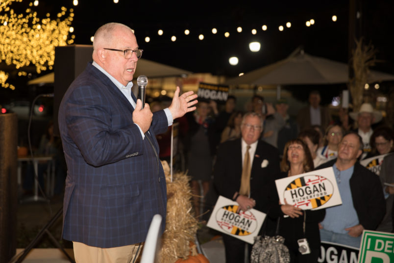 Gaithersburg, Md - October 23: Maryland's incumbent GOP governor Larry Hogan addresses voters during a rally in Gaithersburg, Md., on October 23, 2018. Hogan has been endorsed by Gaithersburg Democratic Mayor Jud Ashman. (Photo by Cheryl Diaz Meyer for The Washington Post)