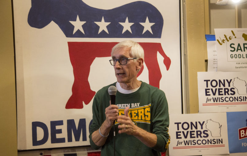 RACINE, WI - NOVEMBER 04: Democratic candidate for Wisconsin Governor, Tony Evers speaks to supporters at the Racine County Democratic office on November 4, 2018 in Racine, Wisconsin. (Photo by Darren Hauck/Getty Images)