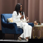 Former First Lady and author Michelle Obama speaks onstage with Tracee Ellis Ross at Becoming: An Intimate Conversation with Michelle Obama at the Forum on November 15, 2018 in Inglewood, California.