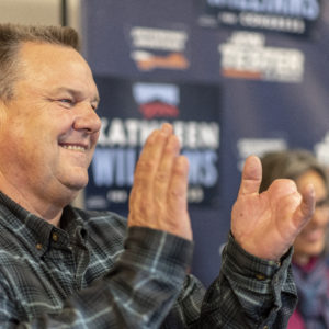 LIVINGSTON, MT - NOVEMBER 02: Montana Democrat Senator Jon Tester who his defending his senate seat from Republican Matt Rosendale campaigns with Democrat Kathleen Williams who is running against Republican Greg Gianforte for Montana's lone house seat on November 2, 2018 in Livingston, Montana. (Photo by William Campbell/Corbis via Getty Images)