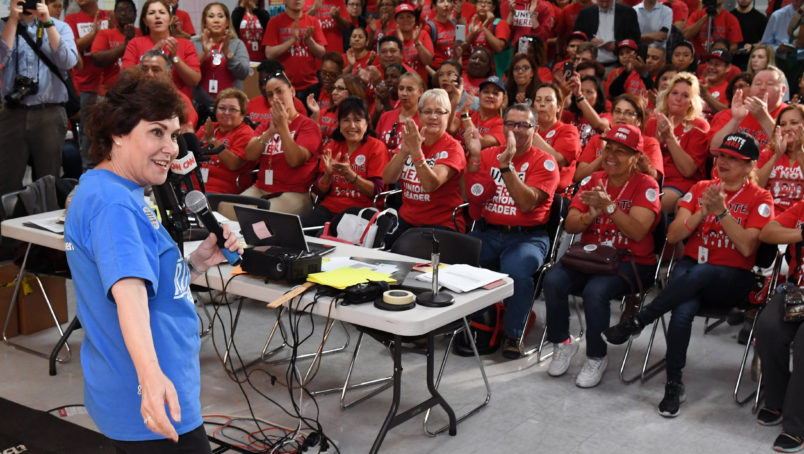 LAS VEGAS, NEVADA - NOVEMBER 05:  U.S. Rep. and U.S. Senate candidate Jacky Rosen (D-NV) speaks at a rally with union members at a canvass launch at the Culinary Workers Union Hall Local 226 on November 5, 2018 in Las Vegas, Nevada. Rosen is trying to unseat Republican Dean Heller in a tight Senate race.  (Photo by Ethan Miller/Getty Images)