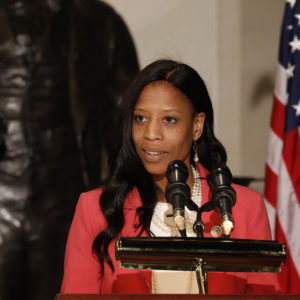 WASHINGTON, DC - FEBRUARY 14: Rep. Mia Love (R-UT) speaks at an event honoring the bicentennial of Frederick Douglass' birth on Capitol Hill on February 14, 2018 in Washington, DC. Douglass, born into slavery, rose to become one of the leading social reformers of his time.(Photo by Aaron P. Bernstein/Getty Images)