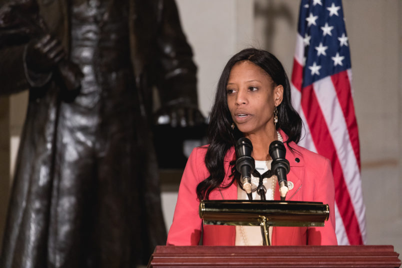 Rep. Mia Love speaks at the Commemoration of the Bicentennial of the Birth of Frederick Douglass, in Emancipation Hall of the U.S. Capitol, on Wednesday, Feb. 14, 2018. (Photo by Cheriss May/NurPhoto)
