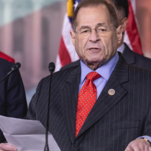 """Judiciary Committee Ranking Member Jerrold Nadler of New York speaks, standing with Democratic members of the Judiciary Committee, during a press conference on Capitol Hill to introduce Bill H.R. 5476, the """"Special Counsel Independence and Integrity Protection Act"""". On Thursday, April 12, 2018 in Washington DC, United States. (Photo by Cheriss May/NurPhoto)"""