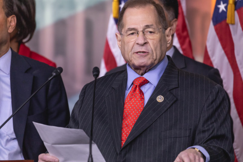 "Judiciary Committee Ranking Member Jerrold Nadler of New York speaks, standing with Democratic members of the Judiciary Committee, during a press conference on Capitol Hill to introduce Bill H.R. 5476, the ""Special Counsel Independence and Integrity Protection Act"". On Thursday, April 12, 2018 in Washington DC, United States. (Photo by Cheriss May/NurPhoto)"