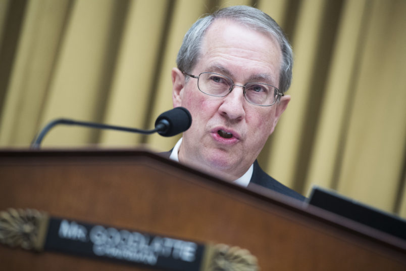 UNITED STATES - MAY 17: Chairman Bob Goodlatte, R-Va., conducts a House Judiciary Committee mark up of the POLICE Act of 2017 in Rayburn Building on May 17, 2018. (Photo By Tom Williams/CQ Roll Call)