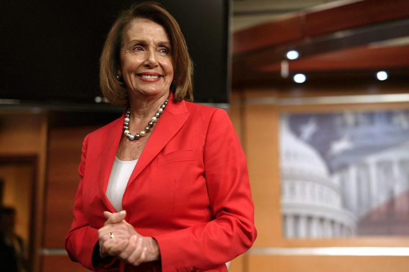 WASHINGTON, DC - JUNE 07:  U.S. House Minority Leader Rep. Nancy Pelosi (D-CA) leaves after a weekly news conference June 7, 2018 on Capitol Hill in Washington, DC. Pelosi held her weekly news conference to answer questions from members of the media.  (Photo by Alex Wong/Getty Images)