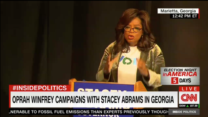 "Oprah Stumps For Stacey Abrams In Georgia, Ignores Mike Pence's ""This Ain't Hollywood"" Nattering Nearby"