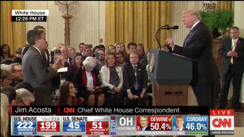 'CNN Should Be Ashamed': Jim Acosta Hogs Mic at Trump Midterm Presser