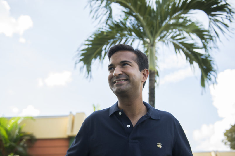UNITED STATES - NOVEMBER 3: Rep. Carlos Curbelo, R-Fla., Florida's 26th Congressional District, talks with voters at Greenglade Elementary School polling place on Election Day in Kendale, Fla., on November 6, 2018. (Photo By Tom Williams/CQ Roll Call)