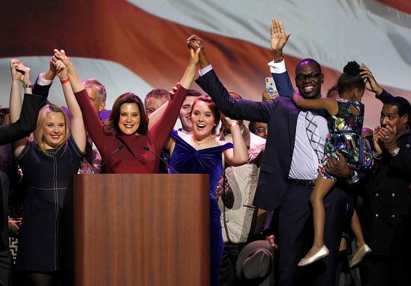 DETROIT, MI - NOVEMBER 06:  Gov.-elect Gretchen Whitmer speaks at a Democratic election-night party on November 6, 2018 in Detroit, Michigan. Whitmer defeated Republican Bill Schuette to replace outgoing Republican Gov. Rick Snyder. (Photo by Bill Pugliano/Getty Images)