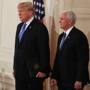 WASHINGTON, DC - NOVEMBER 07: U.S. President Donald Trump arrives with Vice President Mike Pence to give remarks a day after the midterm elections on November 7, 2018 in the East Room of the White House in Washington, DC. Republicans kept the Senate majority but lost control of the House to the Democrats. (Photo by Mark Wilson/Getty Images)