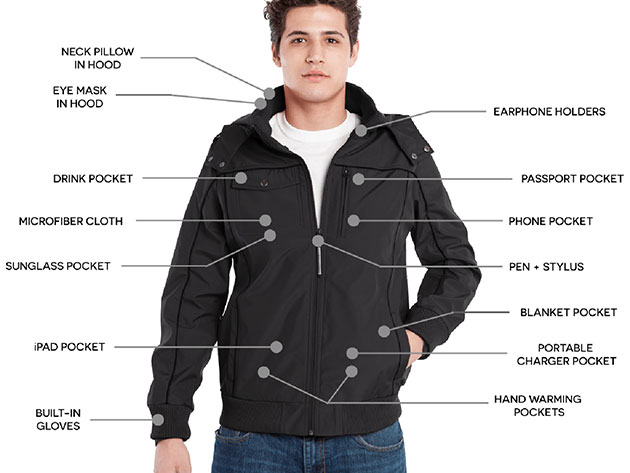 The BauBax Bomber Jacket and Sweatshirt has every feature you need for easier holiday travels.