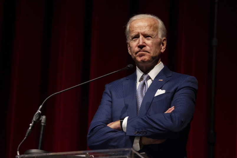 Keynote speaker former Vice President Joe Biden pauses during his speech during the UNLV William S. Boyd School of Law 20th Anniversary Gala at the Bellagio Casino in Las Vegas, Saturday, Dec. 1, 2018. The annual event serves as the school's principal scholarship fundraiser. (AP Photo / Las Vegas Sun, Yasmina Chavez)