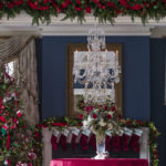 Holiday decorations are seen at the Vice President's residence, Thursday, Dec. 6, 2018, in Washington. (AP Photo/Alex Brandon)