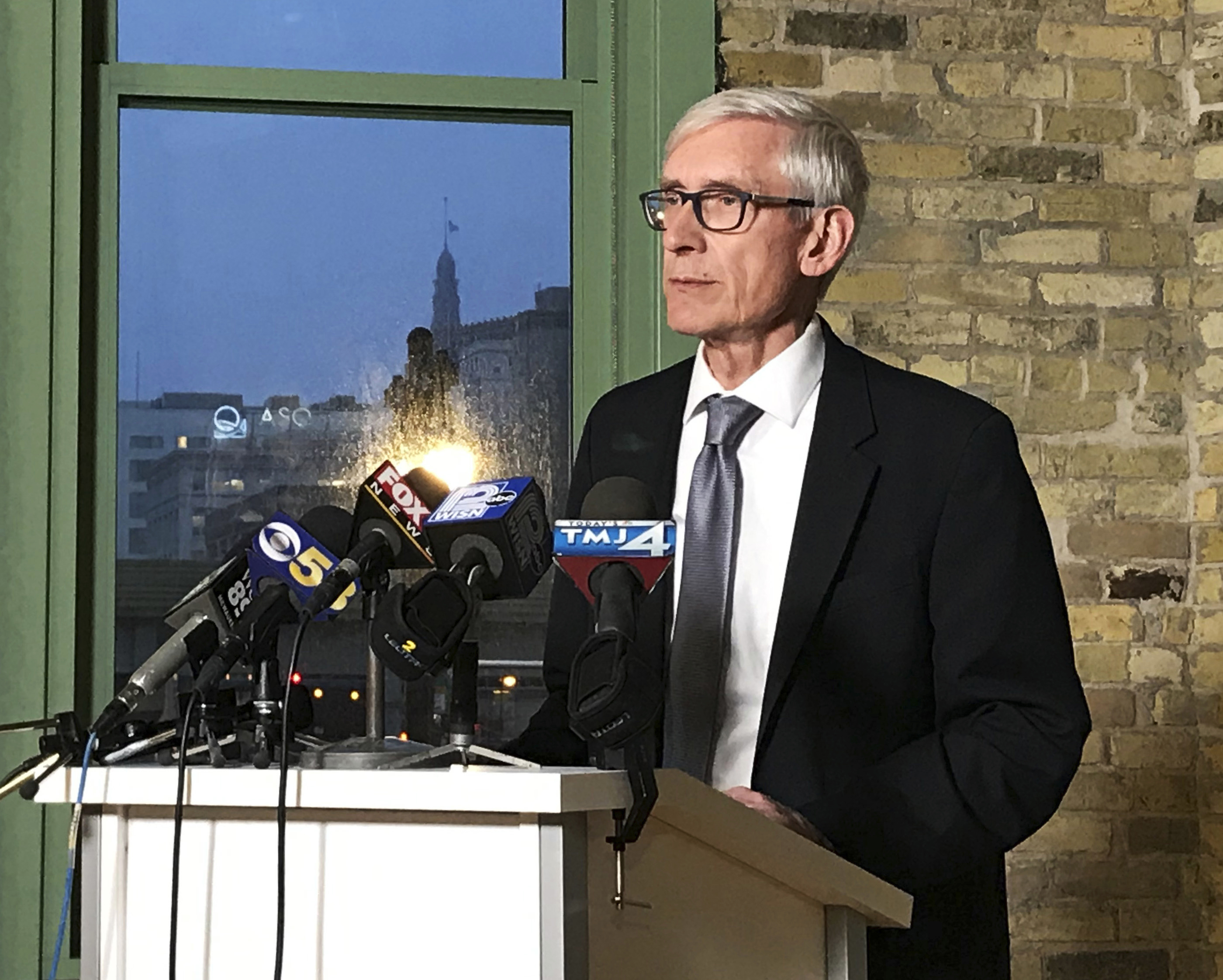 Wisconsin Gov.-elect Tony Evers speaks at the Ward 4 building in Milwaukee on Sunday, Dec. 2, 2018. Democrats in Wisconsin girded for a fight and encouraged voters to speak out as Republicans prepared to move ahead quickly this week with a highly unusual and sweeping lame-duck session to pass a series of proposals that would weaken both Democratic Gov.-elect Evers and Attorney General-elect Josh Kaul. (Meg Jones/Milwaukee Journal-Sentinel via AP)
