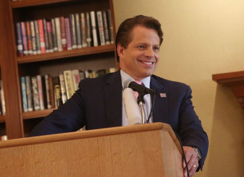 """NEW YORK, NY - AUGUST 22:  Anthony Scaramucci poses at """"The 1st Annual Trump Family Special"""" Off-Broadway Press Conference at The Princeton Club of New York on August 22, 2018 in New York City.  (Photo by Bruce Glikas/Bruce Glikas/Getty Images) *** Local Caption *** Gina Gershon; Anthony Scaramucci"""
