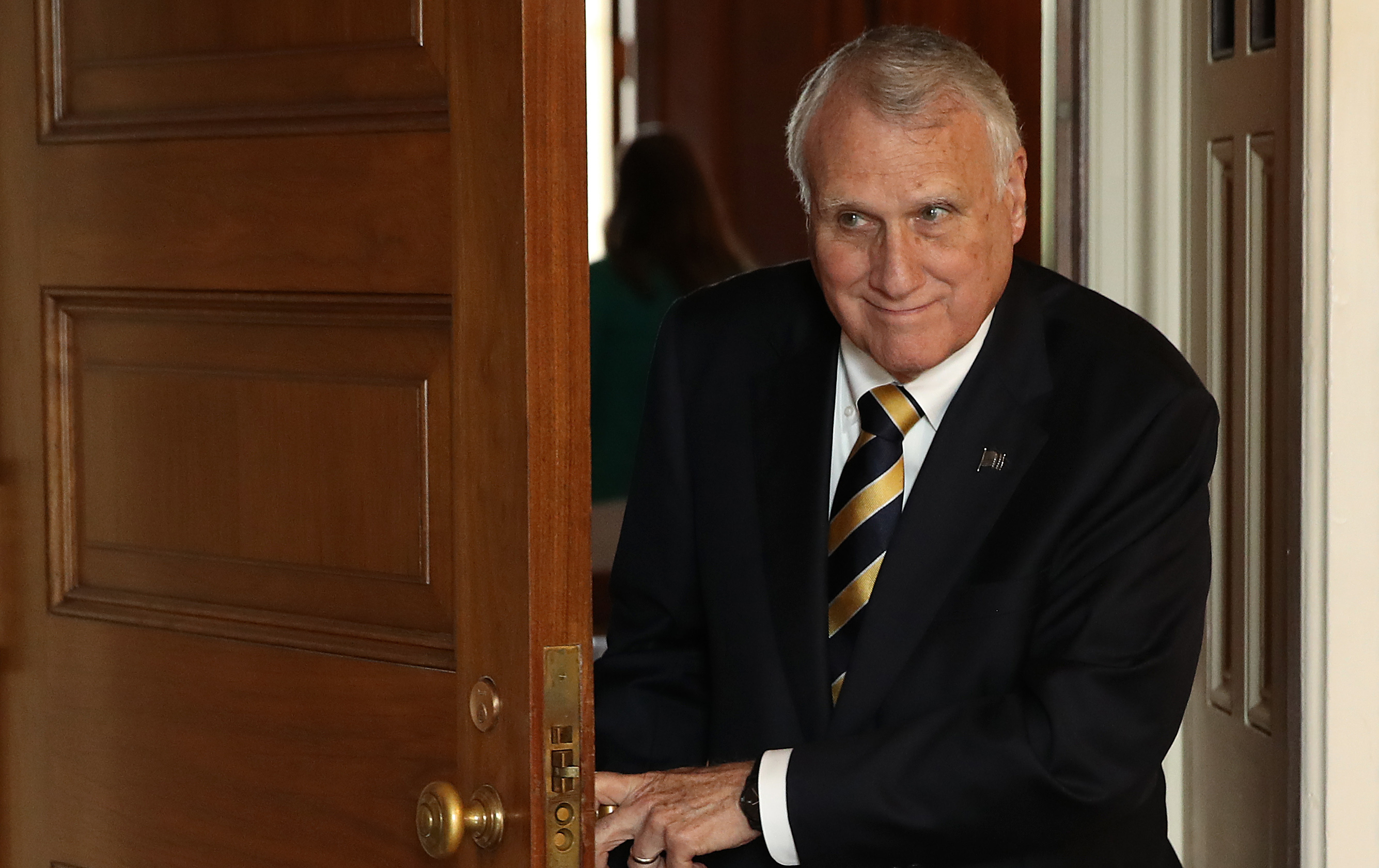 WASHINGTON, DC - SEPTEMBER 25: Sen Jon Kyl (R-AZ) departs the weekly Republican policy luncheon on September 25, 2018 in Washington, DC. Following the luncheon, Senate Majority Leader Mitch McConnell was questioned exclusively about the pending hearing featuring Supreme Court nominee Brett Kavanaugh and Christine Blasey Ford during the brief press conference.   (Photo by Win McNamee/Getty Images)