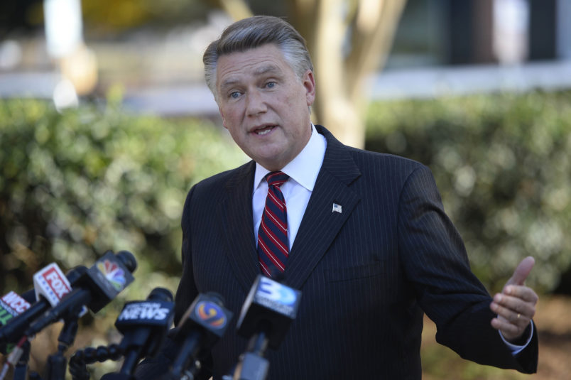 Republican NC-9th District Congressional candidate Mark Harris answers questions at a news conference at the Matthews Town Hall on Wednesday, Nov. 7, 2018, in Matthews, N.C. Harris declared victory over Democrat Dan McCready early Wednesday morning and McCready later conceded. (David T. Foster III/Charlotte Observer/TNS)