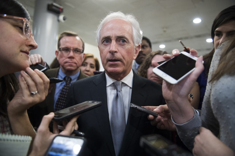 UNITED STATES - DECEMBER 6: Sen. Bob Corker, R-Tenn., talks with reporters in the Senate subway on December 6, 2018. (Photo By Tom Williams/CQ Roll Call)