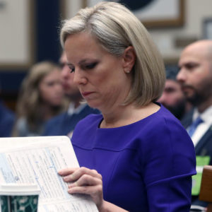 WASHINGTON, DC - DECEMBER 20:  Homeland Security Secretary Kirstjen Nielsen looks at her papers while testifing to a House Judiciary Committee  on Capitol Hill, December 20, 2018 in Washington, DC. The committee is hearing testimony about oversight of the department.  (Photo by Mark Wilson/Getty Images)