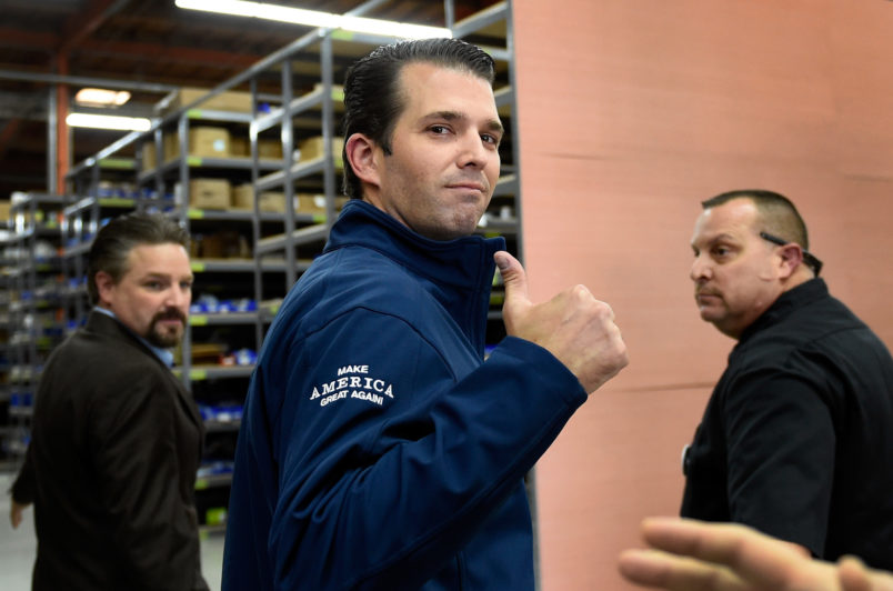 Donald Trump Jr. speaks during a get-out-the-vote rally for his father,ÊRepublican presidential nominee Donald Trump,Êat Ahern ManufacturingÊon November 3, 2016 in Las Vegas, Nevada. Trump Jr. urged people to vote for his father during early voting, which ends on November 4 in the battleground state, and on Election Day.